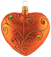 Hand-made glass Christmas ornament Jeweled orange heart by GLASSOR