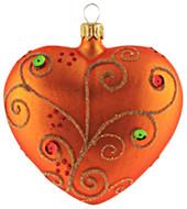 Hand-made glass Christmas ornament Jeweled orange heart by GLASSOR