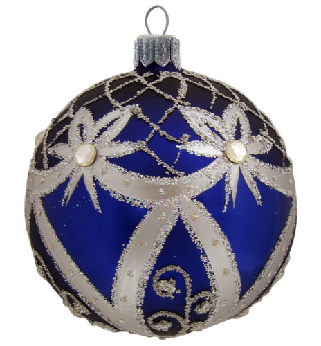 Large Blue Ball With Silver Ribbons Mouth Blown And Hand Painted Glass Christmas Ornament