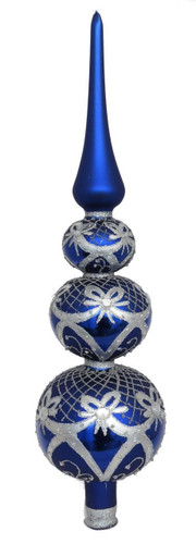 Blue treetopper with silver ribbons Handcrafted Christmas glass ornament