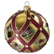 Hand crafted Christmas ornament Cream ball with rose buds - large