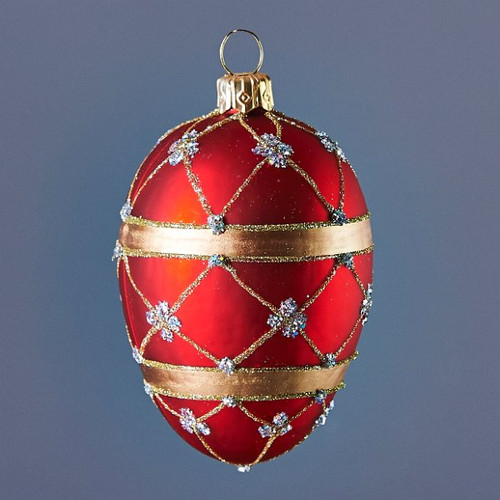 Hand crafted Christmas/Easter ornament Red adorned oval