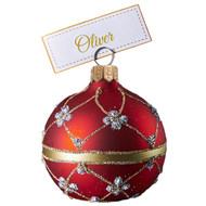Red adorned cardholder handcrafted blown glass Christmas ornament.