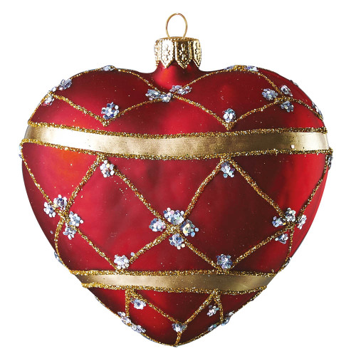 Red adorned heart glass Christmas ornament by GLASSOR