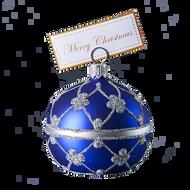 Blue adorned table ball Christmas ornament