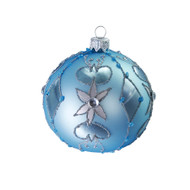 Hand crafted Christmas ornament Ornate powder blue ball