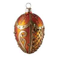 Hand crafted Christmas/Easter ornament Ornate peach oval