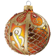 Hand crafted Christmas ornament Ornate peach ball - large