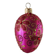 Hand crafted Christmas/Easter ornament Purple oval with gold daisies