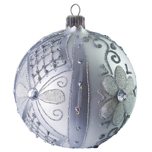 Large silver flowered ball large handcrafted glass Christmas ornament by GLASSOR