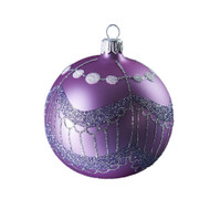 Hand crafted Christmas ornament Purple ball with silver tassels
