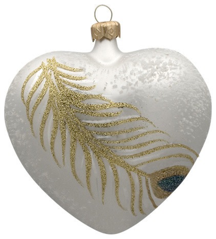 Hand-made Christmas ornament Peacock feather heart by GLASSOR