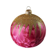 Hand crafted Christmas ornament Red ball with gold top