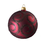 Ruby ball with glitter scroll Christmas ornament