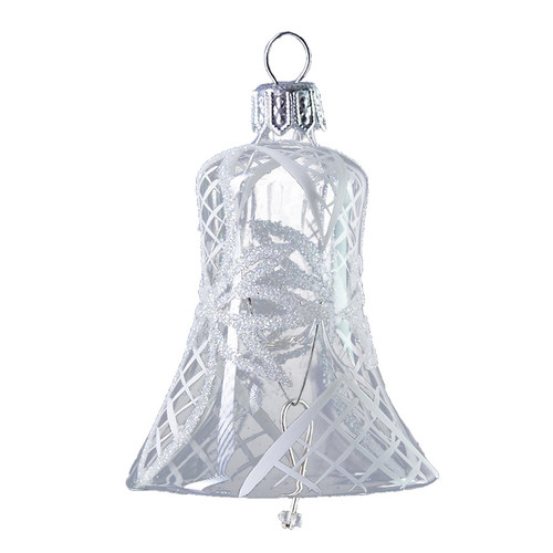 Glass bell with white ribbons handcrafted Christmas glass ornament