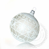Hand crafted Christmas ornament Glass ball with white lattice - large