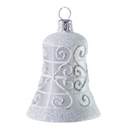 Hand crafted Christmas ornament Glass bell with white lattice
