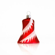 Red bell with snowy swirls handcrafted glass Christmas ornament by GLASSOR
