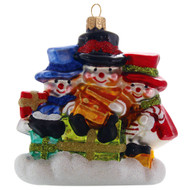 Three Snowmen Blown Christmas Ornament, mouth-blown and hand-painted glass ornament by GLASSOR.