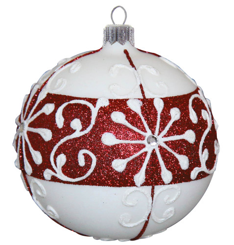 Snow-White Bauble with Red Glitter and Crystal Beads, mouth-blown and hand decorated glass Christmas ornament by GLASSOR.