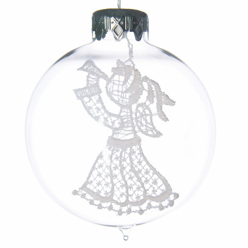 Clear Bauble with Lace Angel Ornament, mouth-blown and hand-painted glass ornament by GLASSOR.