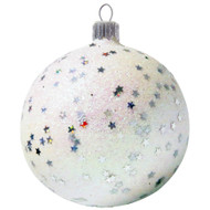 White Glittered Glass Bauble With Christmas Stars handcrafted by GLASSOR.
