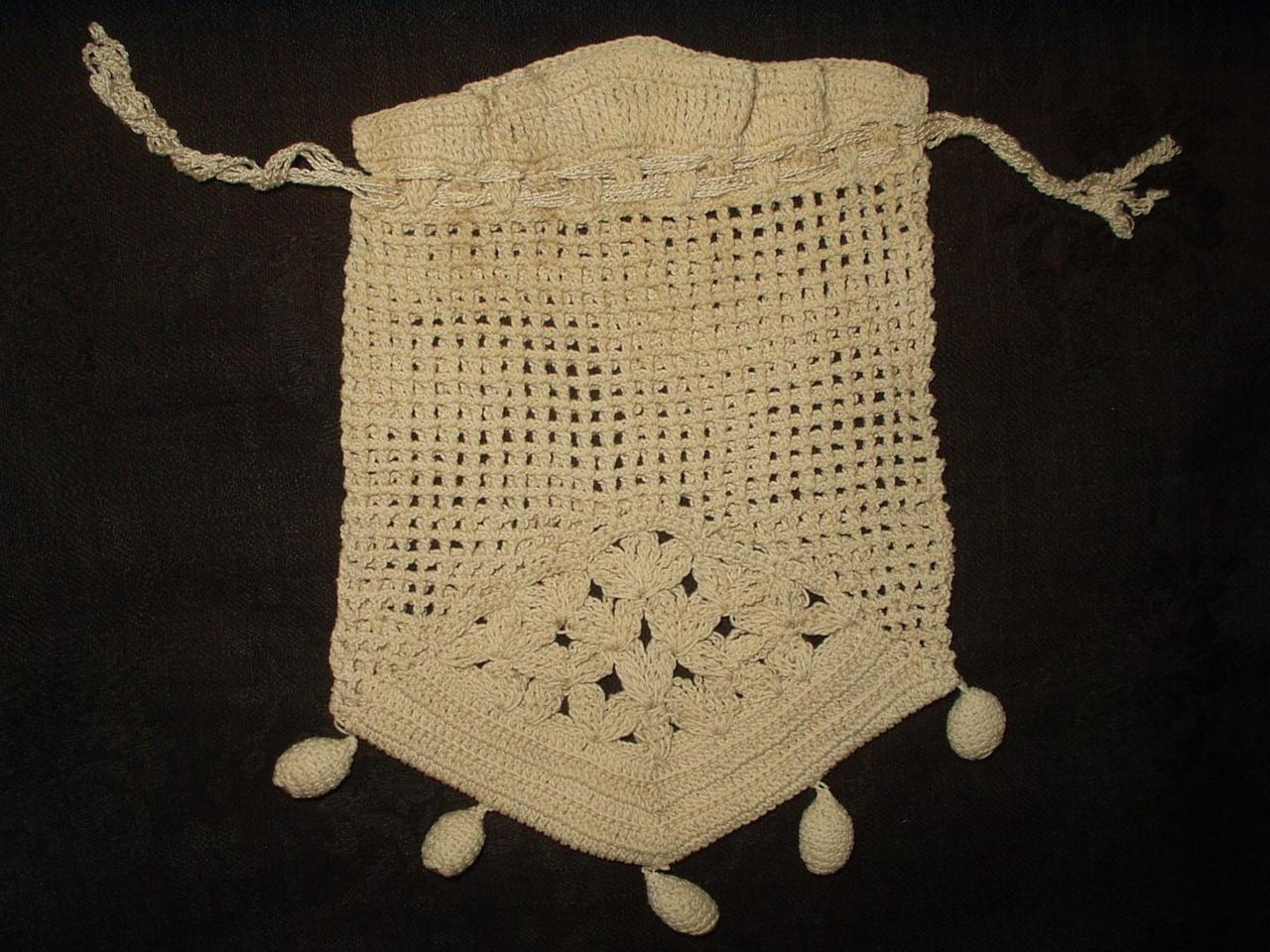 Antique Vintage Hand Crochet Drawstring Edwardian 1920 Purse Ball Tassel