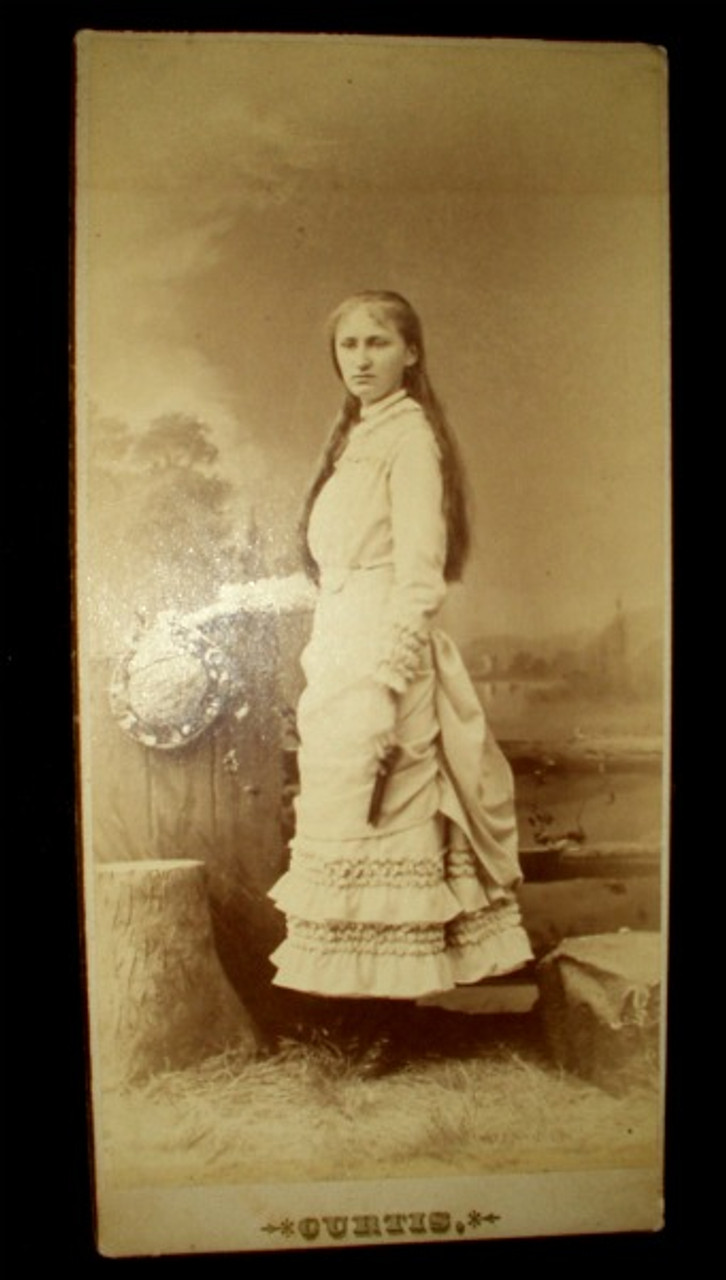 1880 Victorian Lewiston, Me Cabinet Photograph Girl With Hat and Fan