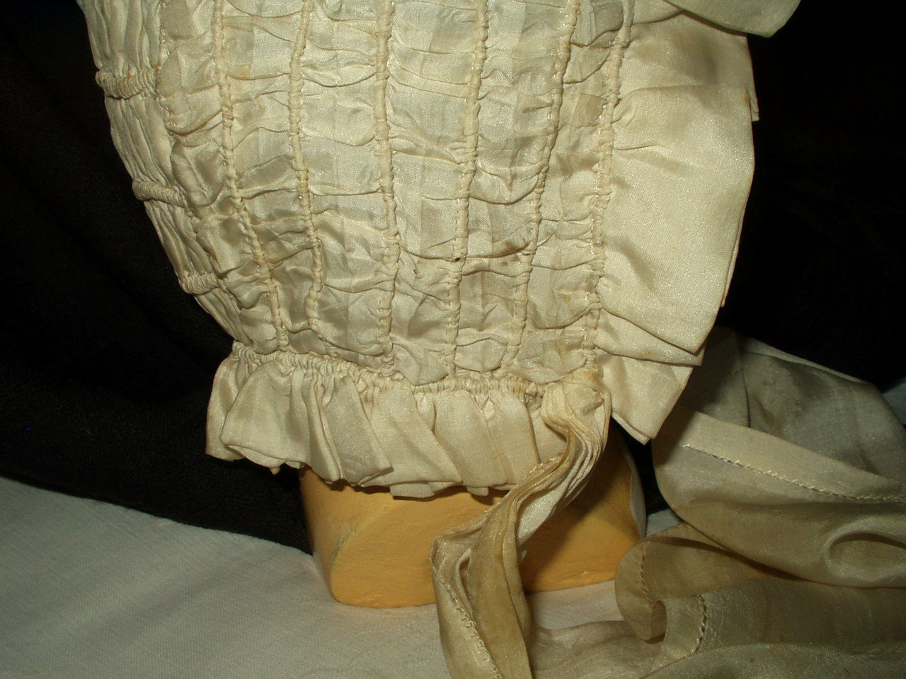 Antique Victorian Edwardian Children Fancy  Cream Silk Baby Bonnet Ruffle