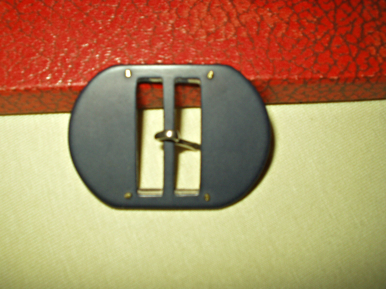 Vintage 1930 Navy Blue Bakelite Metal Trim Dress Belt Buckle
