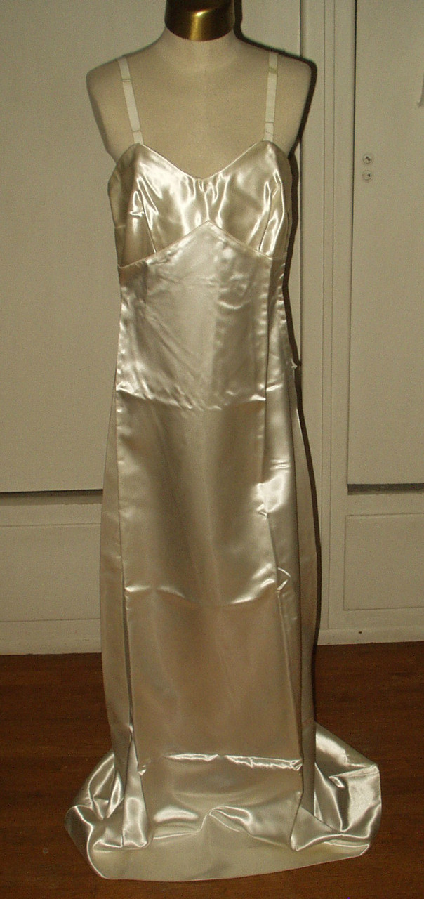 1940 Vintage Alencon Lace Wedding Dress Bridal Gown Satin Slip Undergarment