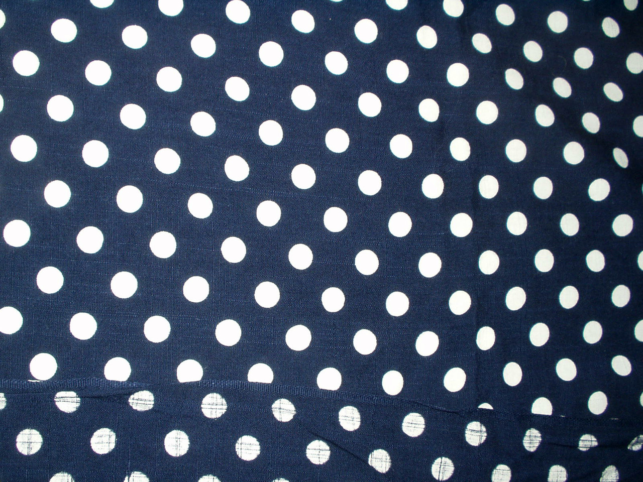 1950 Vintage Polka Dot Fabric Cotton Navy Dress Yardage