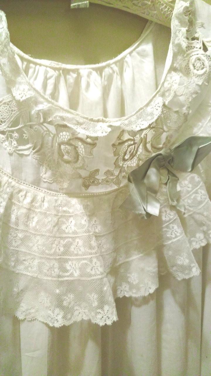 1900 Victorian Trousseau Night Gown Valenciennes Lace Batiste Cotton