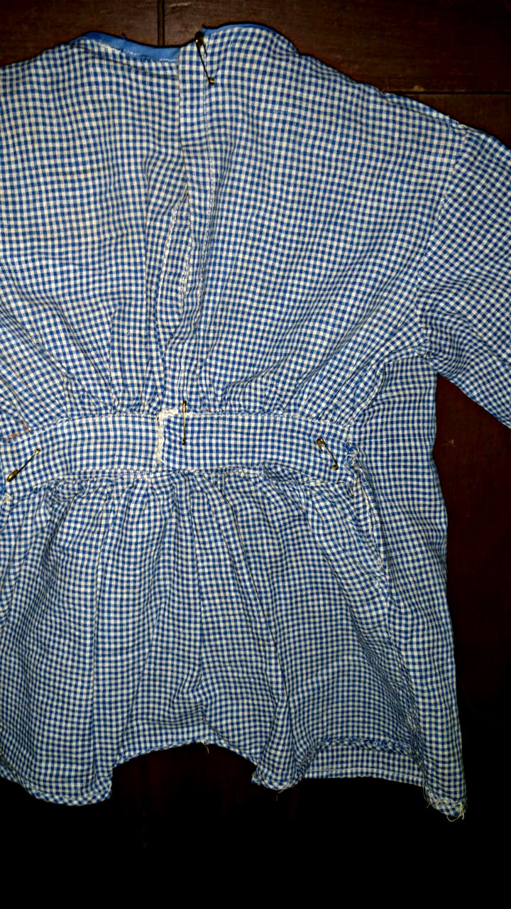 Child Rompers Play Suit Drop Drawers 1920s Blue Homespun Check Fabric
