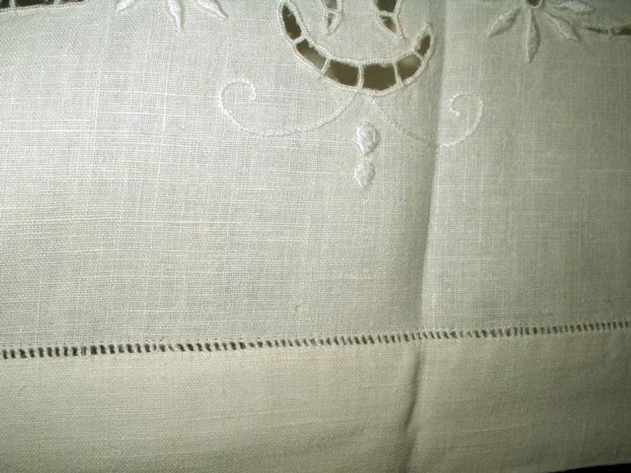 "Antique Early 1900s Monogram ""R"" Linen Sheet"