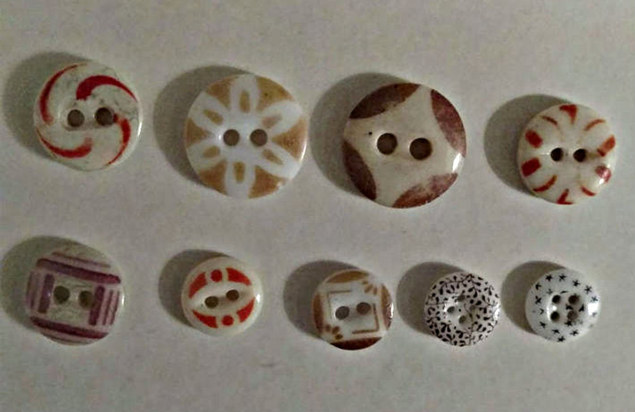 9 Early Victorian Calico Stencil China Buttons Assorted Color Size