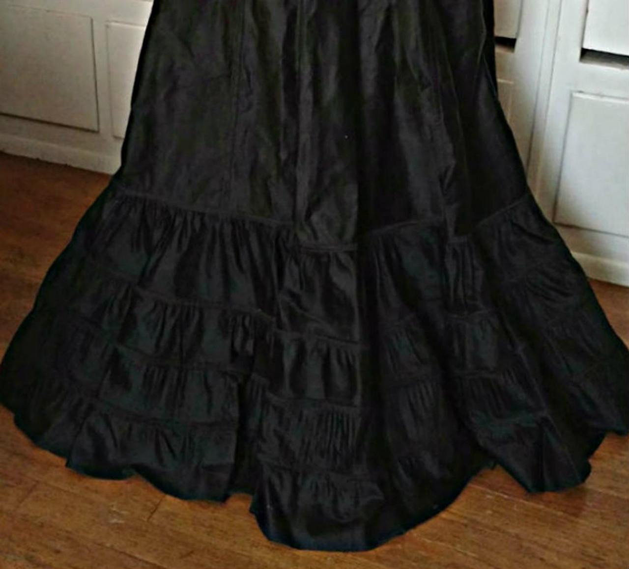 Black Sateen Victorian Petticoat Double Ruffle Vintage Gothic Steampunk