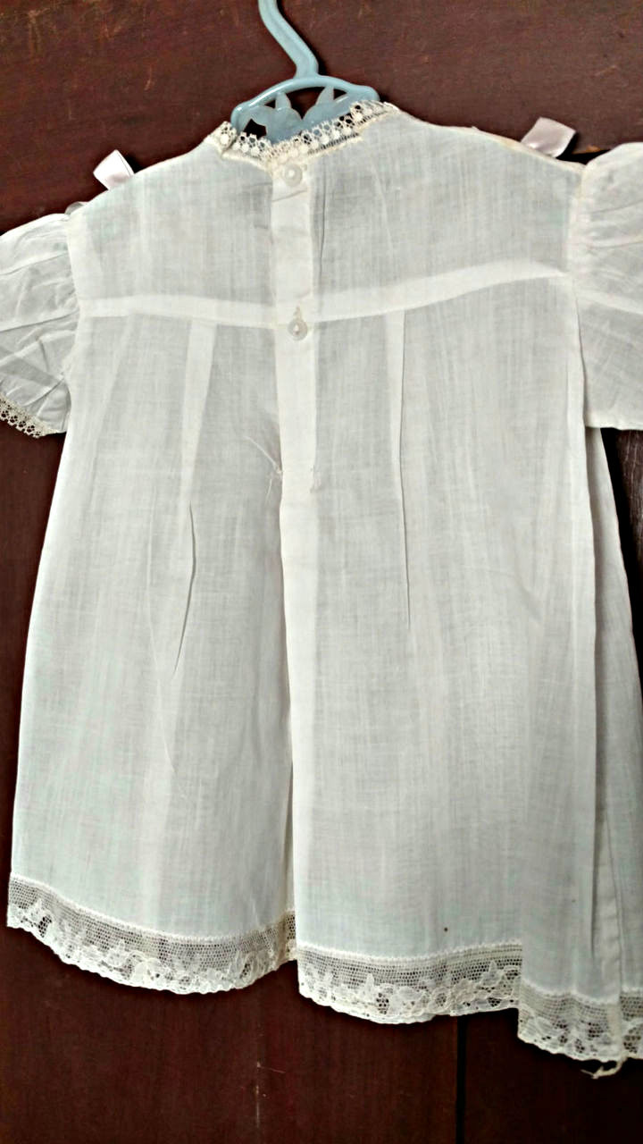 1930s 1940s White Baby Dress Pin Tucks Lace Ribbon Bows Unworn