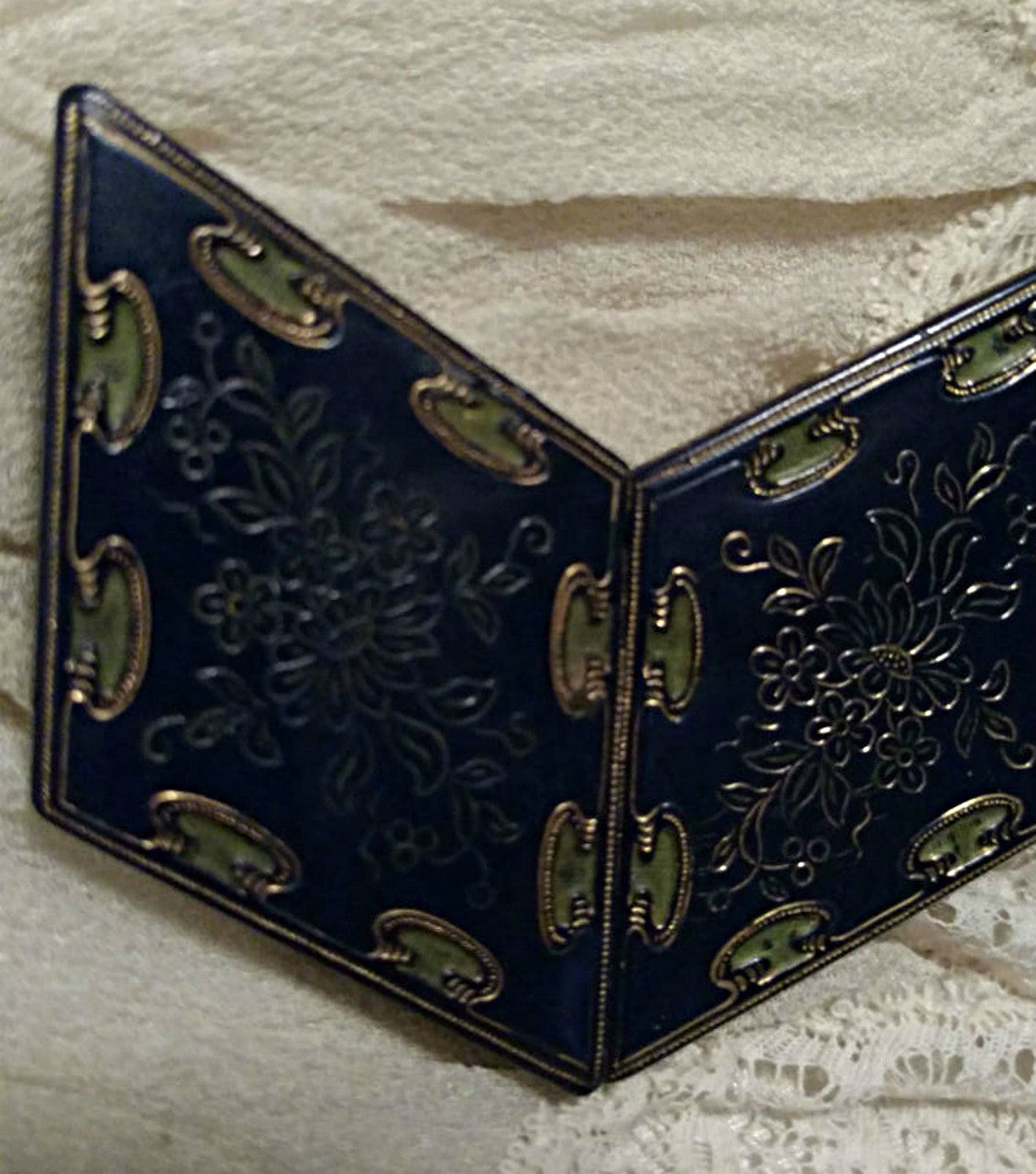 Vintage 1930 Art Deco Belt Buckle Blue Cloisonne Brass Flower Design