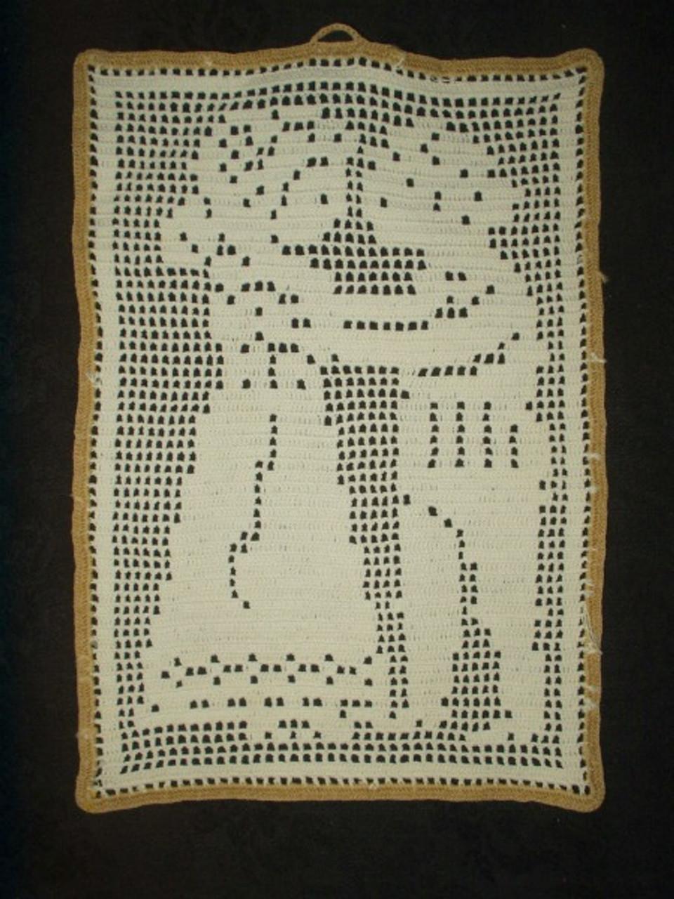 Vintage 1940's Filet Crochet Boy Girl Sampler Wall Hanging