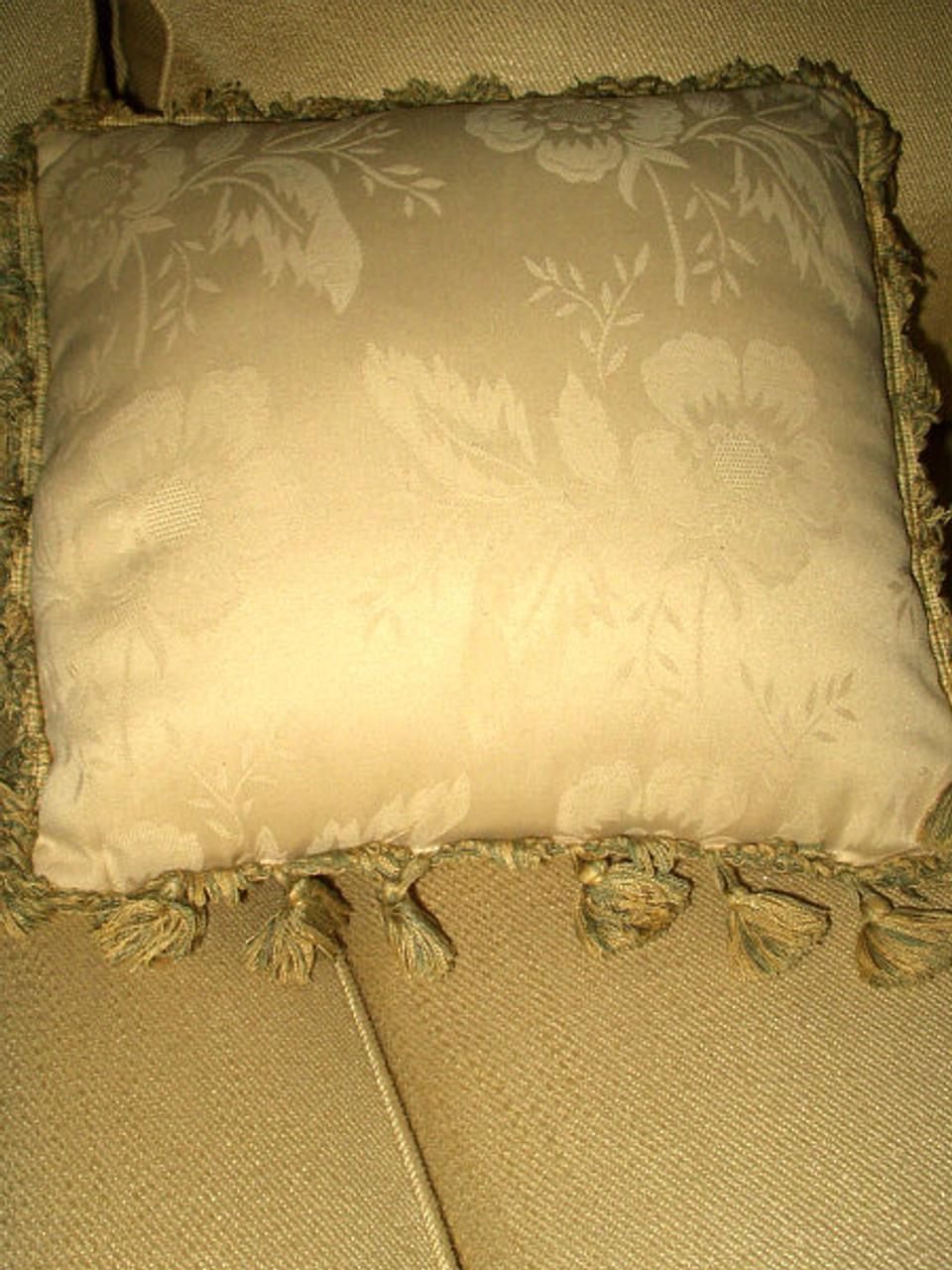 Brocade Rosette Ribbon Basket Embroidery Throw Pillow