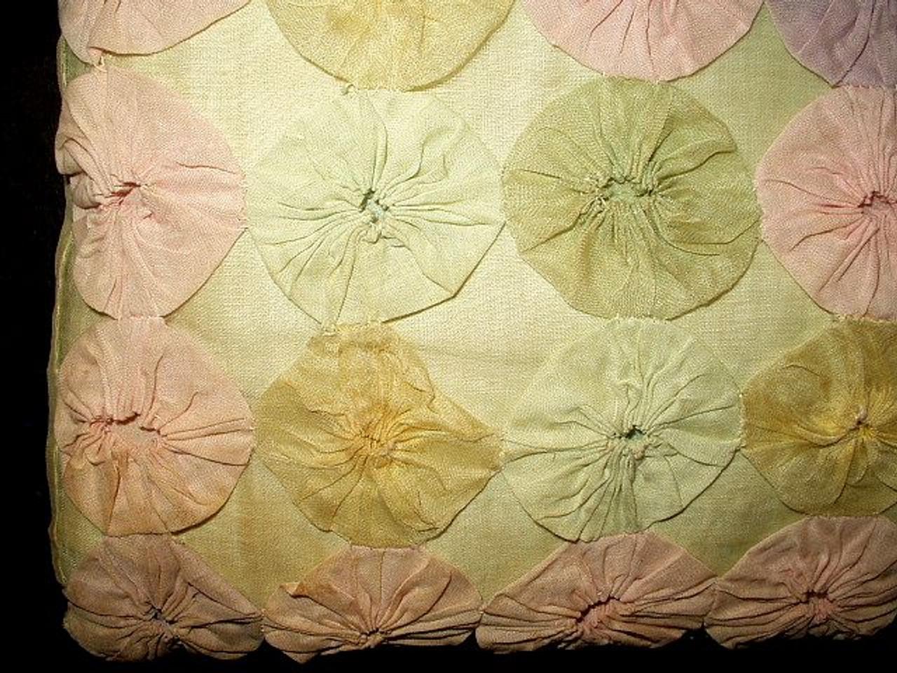 Vintage 1930 1940 Pink Green Blue Lavender Organdy Yo Yo Hand Made Pillow