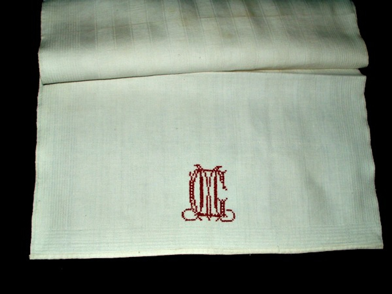 Monogrammed C M Redwork Embroidery 1900 Homespun Kitchen Towel
