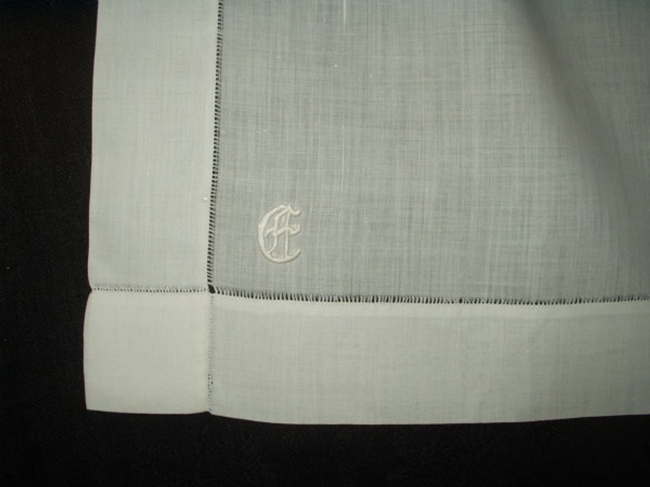 Antique Victorian White Batiste Cotton Embroidery Monogram Apron