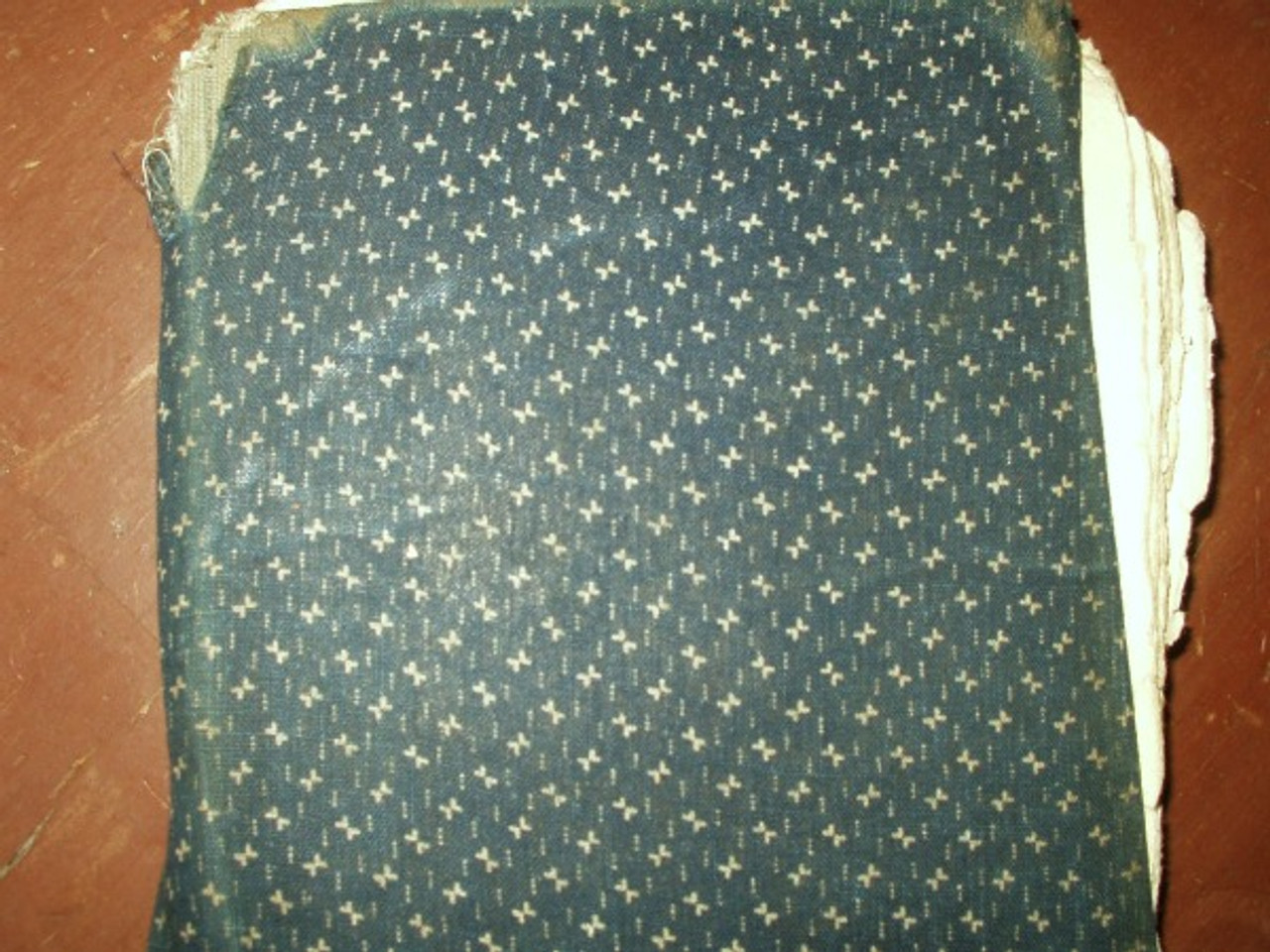 Blue Calico Cloth Covered School Book dated 1921 Country Primitive