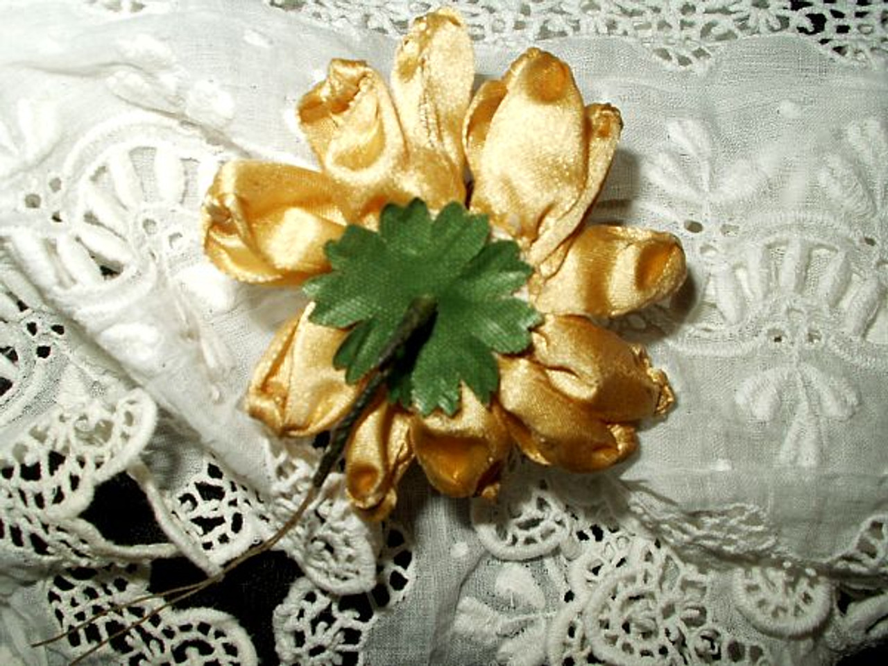 Antique Edwardian 1920 Handmade Silk Ribbon Millinery Hat Flowers
