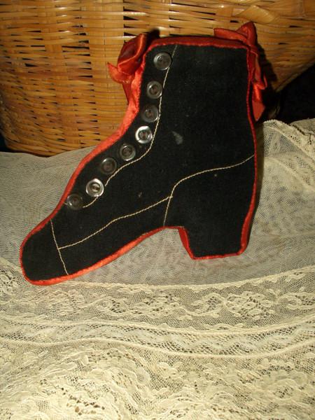 Antique Vintage Wool Satin High Button Shoe Sewing Pincushion