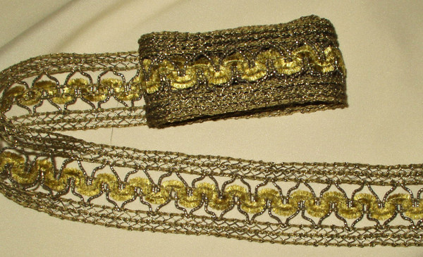 Vintage Edwardian 1920s Gold Metallic Woven Silk Chenille Braid Trim