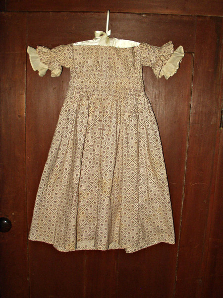 Antique 1850 1860 Civil War Victorian Purple Calico Hand Stitched Children Dress