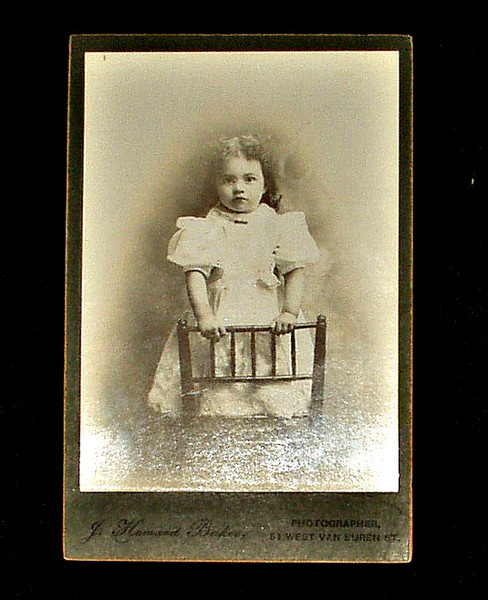 Antique Cabinet Card Photograph Victorian Child White Dress Puff Sleeves
